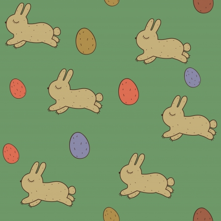Vector seamless patterns with Easter bunnies and eggs. Stock Vector - 18594707