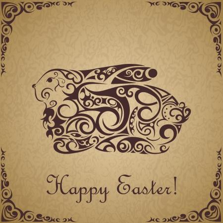 Cute ornamental Easter rabbit background .