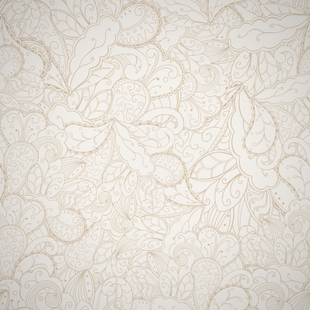 Floral seamless beige abstract hand-drawn card background.