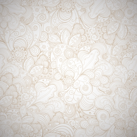 Floral seamless beige abstract hand-drawn card. background.