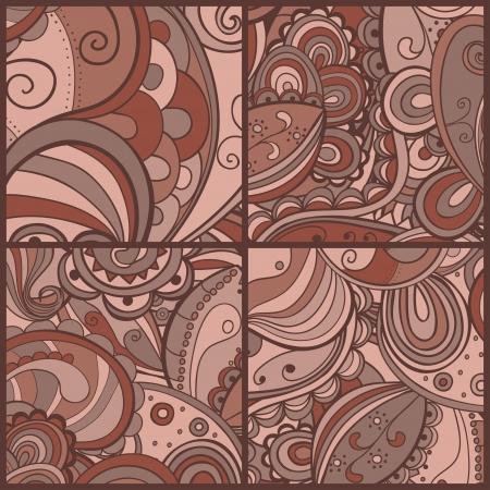 psychoanalysis: Set of floral abstract hand-drawn card. background. Illustration
