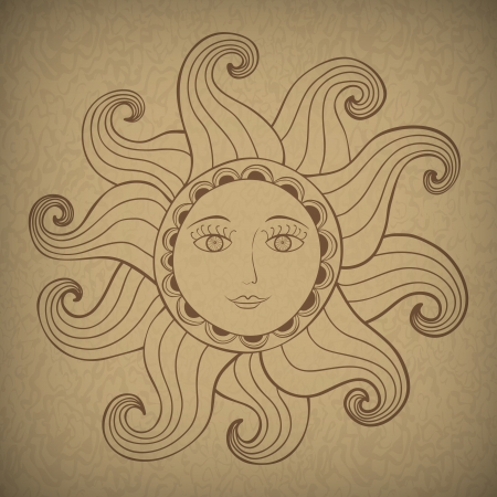 tribal illustration of Sun with kind face.