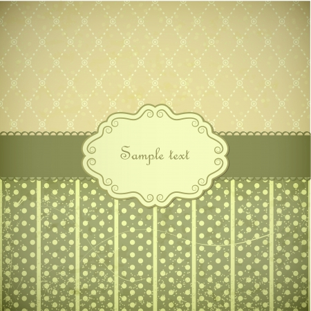 Vintage frame  Green and beige eps10 vector background  Illustration