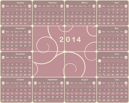 Vector American calendar for 2014 year. Vector