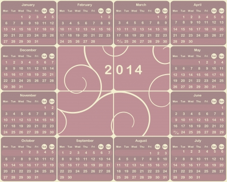 Vector European calendar for 2014 year. Vector