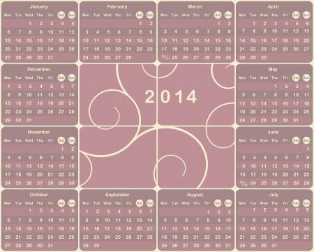 mon 12: Vector European calendar for 2014 year.