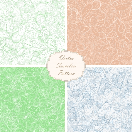 Set of floral seamless abstract hand-drawn vector background. Vector