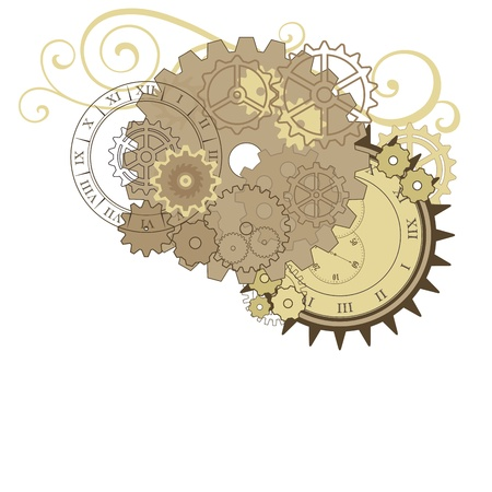clock gears: Collage with different gears, dials and swirls. Vector elements for design. Illustration