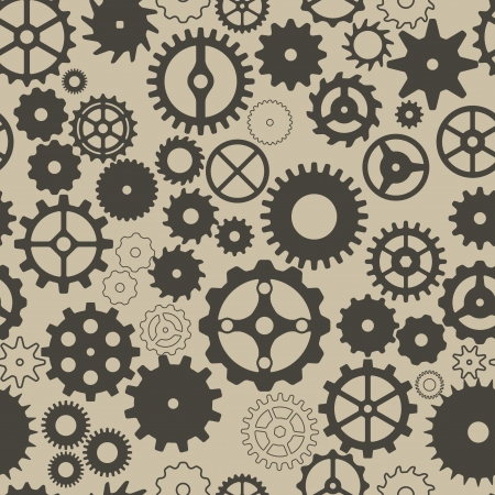 Seamless background with different gear wheels. Vector elements for desing. Illustration