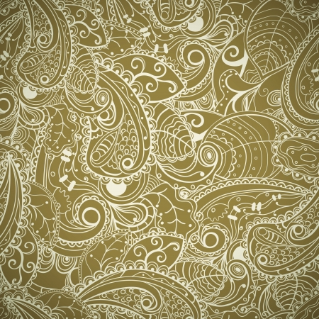 khaki: Floral seamless abstract hand-drawn pattern. Vector background.