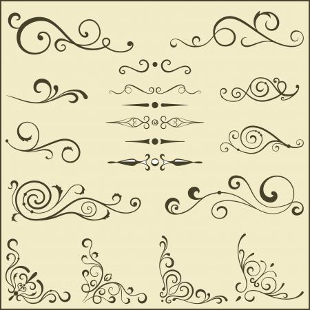 corner border: Set of vector swirl elements for design. Illustration