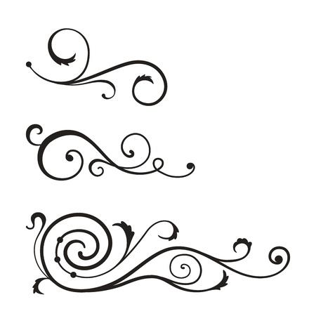 black swirls: Vector swirl elements for design.