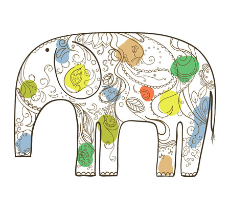 Vector hand drawn elephant with floral pattern