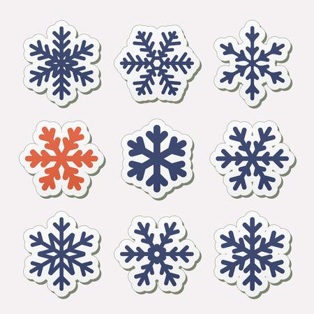 snowflake set: Vector set of simple snowflakes  Illustration