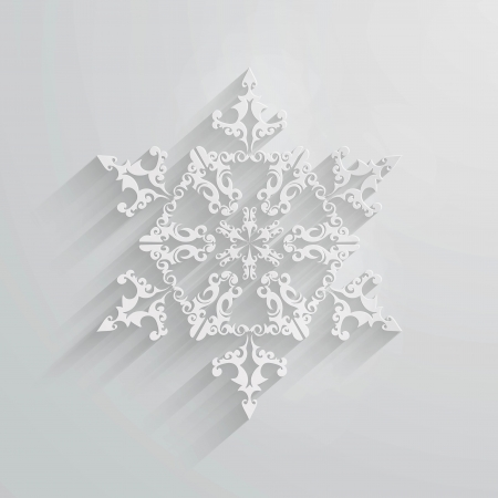 Eps10 vector white paper snowflake applique.
