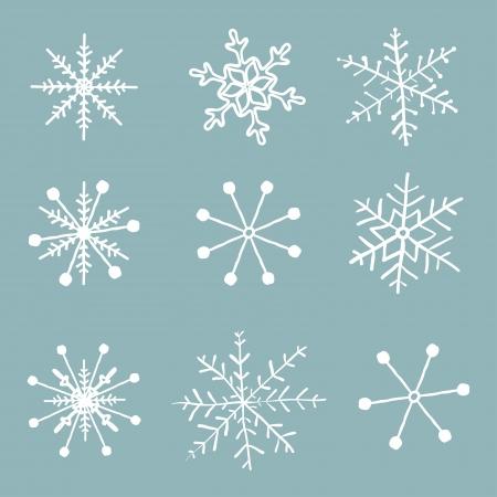 snowflake set: Vector set of simple hand drawn snowflakes. Illustration