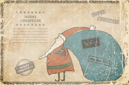 Funny cartoon Santa with big bag on a old background.  Vector