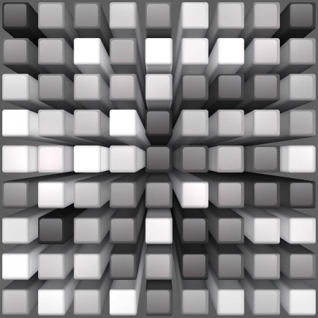 frontal: Abstract vector monohrome background, cubes design.