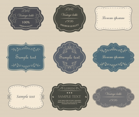 decorative border: Set of vector vintage labels. Illustration