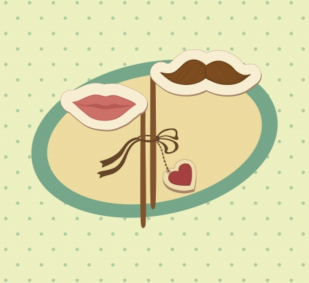 Conceptual valentine card with mustache and lips. Vector illustration.