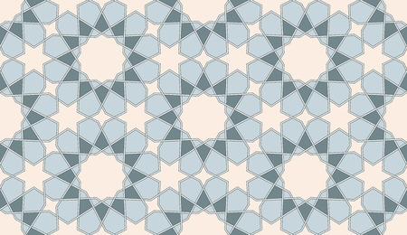 Seamless Islamic vector background. Blue and beige colors.