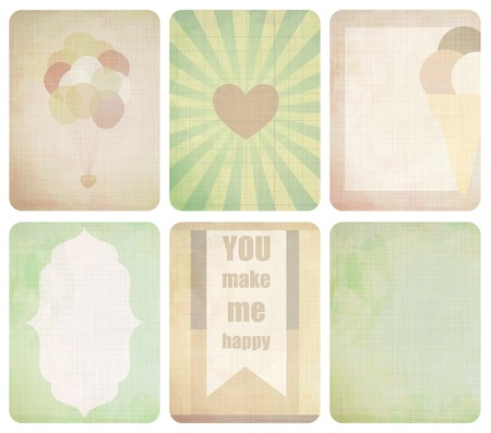 Vector set of journaling card for scrapbook and design, 3x4 size. Summer collection, part 3. Vector