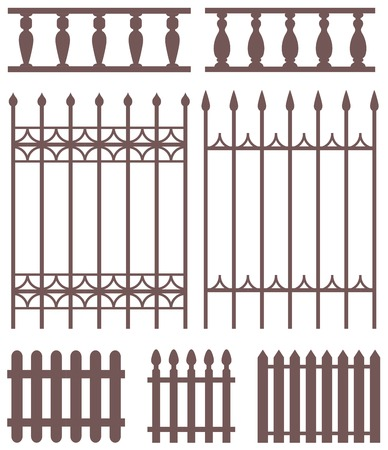 Vector set of fences silhouettes. Vector