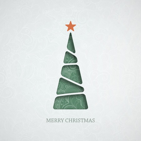 Creative paper Christmas tree. Illustration