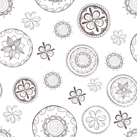 seamless pattern with flowers in circles.