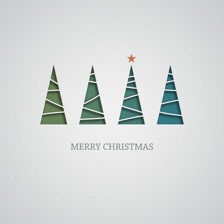 christmas tree illustration: Creative paper Christmas tree. Vector Illustration.