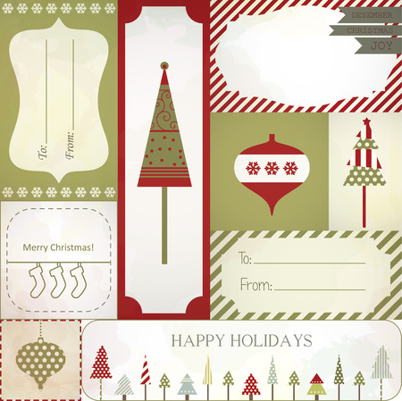 vector Christmas gift tags, labels and stickers.