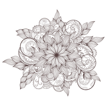 Vector floral circle composition, made of contour.