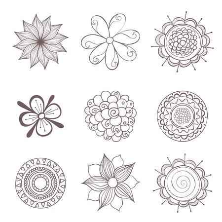 Set of flowers. Vector elements for design. Illustration