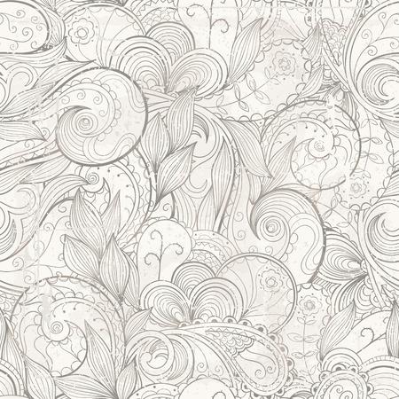 blumen abstrakt: Vector floral abstrakte handgezeichneten Hintergrund mit Grunge-Effekte, grauen Farben. Illustration