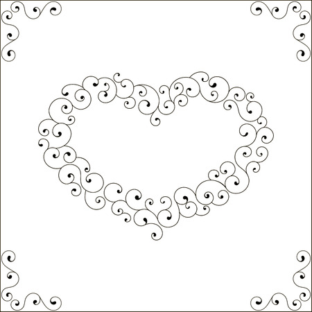 Set of vector decorative elements. Heart frame and corner. Illustration