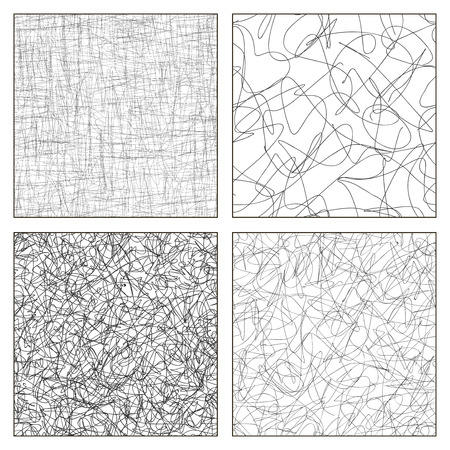 Seamless vector set of scribble patterns.