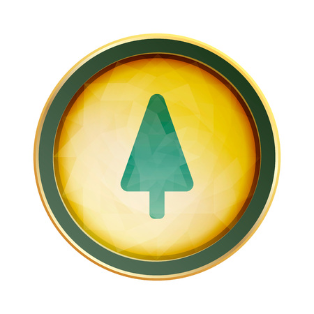 shiny button: Crystal shiny button with Christmas tree, vector design for website.