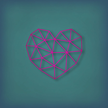 Vector geometric heart made of triangles.