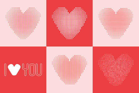 heart tone: Set of hearts made of dots, squares and letters with ombre effect. Illustration