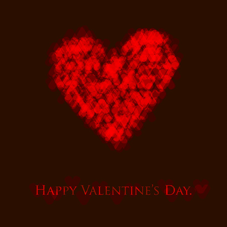 Vector valentines day card with shiny heart on a black background.