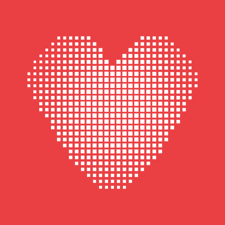 ombre: Vector heart made of squares with ombre effect.