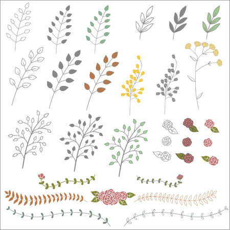 Vector hand drawn vintage floral elements. Set of branches, icons and decorative elements. Illustration