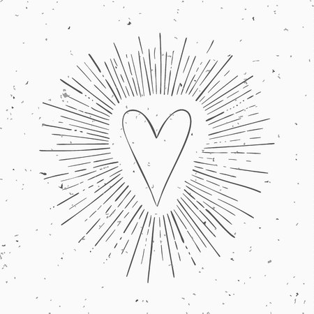 the light rays: Vintage vector heart with circle hand drawn ray frames.