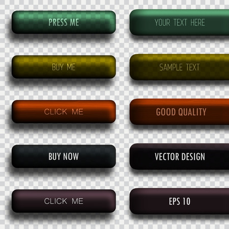 shiny black: Set of vector colored web buttons and tags.
