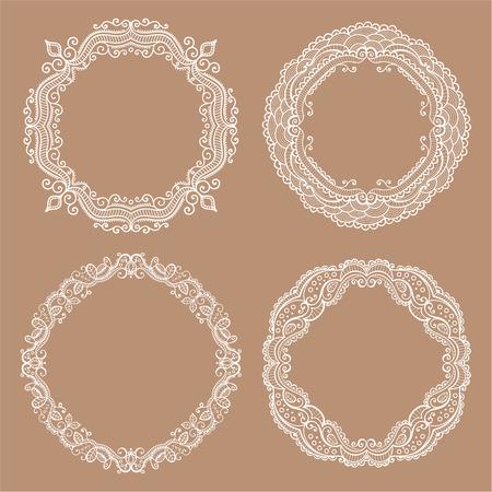Vintage circle frames. Hand drawn elements for design.