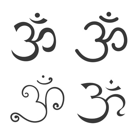 sanskrit: Sign Om. Hand drawn symbol of Buddhism and Hinduism religions