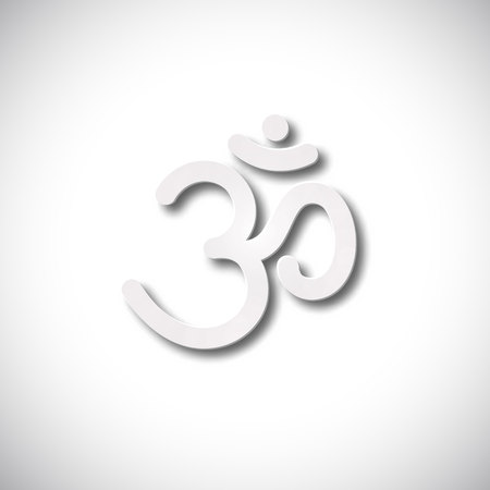 3d om: Sign Om vector. Hand drawn symbol of Buddhism and Hinduism religions Illustration