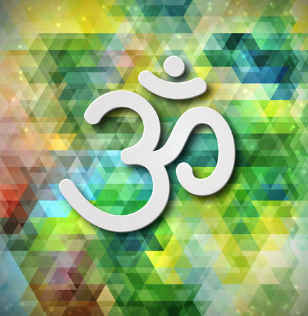 hinduism: Firma de OM del vector. S�mbolo de la mano dibujado del budismo y el hinduismo religiones