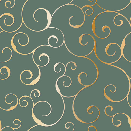 swirly: Vector seamless metallic swirly pattern on a black background.