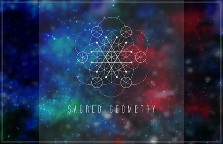 Sacred geometry vector design element. Alchemy, hipster sacred symbols on a abstract cosmic background with shining stars and color squares. Ilustração